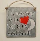 """Hanging Wooden Plaque """"I Love you to the moon and back"""" Novelty Gift Sign"""