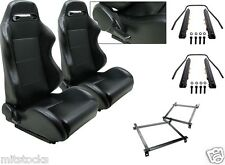 2 BLACK LEATHER RACING SEATS RECLINABLE + SLIDERS + BRACKETS HONDA CIVIC 92 1992
