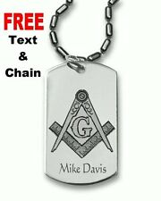 Masonic Personalized Dog Tag Pendant Necklace with FREE Chain