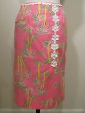 Vintage Lilly Pulitzer The Lilly Skirt Hot Pink Palm trees white lace  - XS