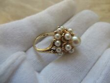 Vintage Mikimoto 14k Gold 19 Pearl Dome Cluster Ring