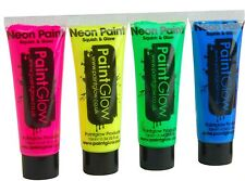 4 x Neon UV Paintglow Facepaint Face & Body Paint 10ml SET of 4 Random Colours