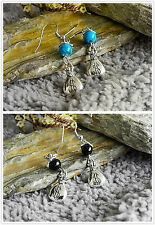 Antique Silver Money Bag Turquoise/Black Bead Drop/Dangle Earrings Set of 2 Gift