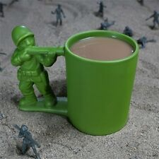 12 Oz Green Army Man Coffee Mug Tea Hot Chocolate Ceramic Cup Dishwasher Safe