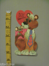 Vtg Valentine Card 70's Wide Neck Tie Mouse No Lion