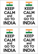 KEEP CALM AND GO TO INDIA - Indian / South Asia x 4 VINYL STICKERS 14cm x 9cm