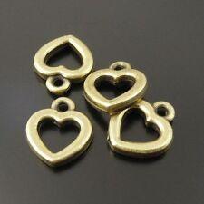 100pcs Antiqued Bronze Vintage Alloy Hollow Love Heart Pendant Charms 33689