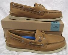 NEW MEN SPERRY TOPSIDER LEATHER BOAT SHOE AO 2 EYE CROSS LACE TAN MEN SIZE 9.5