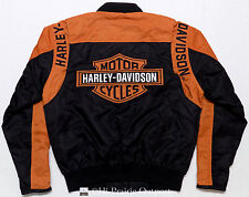 Harley Davidson Black Motorcycle Lined Wind Jacket Mens Size Small