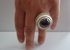 VICTORIAN STYLE LARGE COCKTAIL RING W/ 7 CT AMETHYST/SZ 5-9 /925 STERLING SILVER