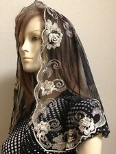 Gold Black Spanish style veils and mantilla church chapel scarf lace ROSE