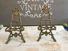 2 x Vintage brass Rococo Style picture frame photo plate stand easel Art Nouveau