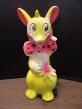 "Vintage Yellow Mouse Rubber Squeak toy-  8 3/4"" Tall - 1965 - BABY WORLD CO"