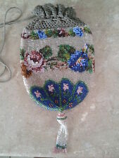 antique victorian glass beautiful seed bead flower handbag purse drawstring bag