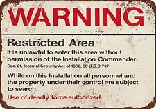 Warning Restricted Military Area 51 Vintage Look Reproduction Metal Sign