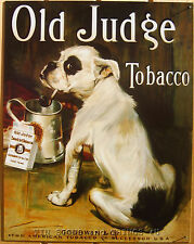 Old Judge Tobacco TIN SIGN bull dog bulldog pipe vtg metal wall decor ad art 379