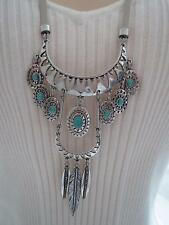 Lucky Brand white leather silver tone~turquoise stone turquoise necklace, NWT