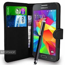Black Wallet Case PU Leather Book Cover For Samsung Galaxy Core Prime G360 G361
