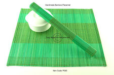 4 Handmade Bamboo Wood Placemats Table Mats, New Collection, Green Yellow P083