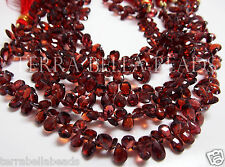 "6"" strand GARNET faceted pear briolette gem stone beads 6mm - 7mm red"