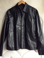DONNA KARAN NEW YORK BLACK LABEL LEATHER JACKET COLLECTION SIGNATURE BIKER COAT