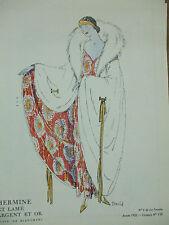 hermine lamé argent or  bianchini croquis 6 planche gazette du bon ton 1922