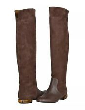 Gucci Knee Boots Leather Suede Solid Brown Flat Bamboo Heel $1480 NIB 37.5 7.5