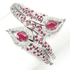 WONDERFUL NATURAL GEM TOP RICH RED PINK RUBY-WHITE CZ STERLING 925 SILVER BANGLE
