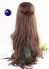 Women Girl Brown suede Peacock Feather Beach Hair head band Headband Prop Wrap