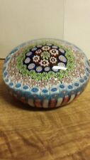 Antique Clichy Coencentric in a pink&White Stave Basket Glass Paperweight.Ca1870