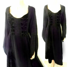 Size 20/22/ Black Dress Gothic Dark Purple/Black Long Peasant  Dress w Velvet