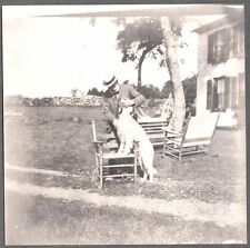 VINTAGE 1897-05 NANTUCKET MASSACHUSETTS MAN LABRADOR RETRIEVER DOG OLD PHOTO