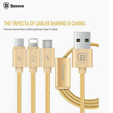 Gold BASEUS 3 In 1 interface Type-C Micro USB Charging Cable For iPhone Android