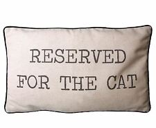 COOL CUSHION 'Reserved for the Cat' Beige LINEN COTTON QUIRKY DECOR Cover & pad