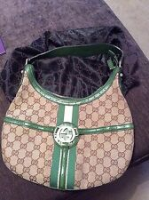 GUCCI MONOGRAM CANVAS  HOBO MEDIUM GREEN BAG  GUCCI HANDBAG DESIGNER