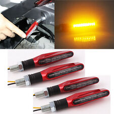 4PCS RED Bendable Motorcycle Bicycle LED Turn Signal Light Indicator Blinker 001