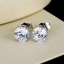 18k White Gold Filled Earrings Womens ear stud 8mm round CZ GF Fashion Jewelry