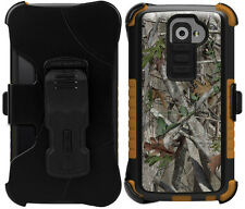 AUTUMN LEAF CAMO TRI-SHIELD DESIGN CASE BELT CLIP HOLSTER STAND FOR LG G2 PHONE