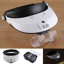 2 LED Headband Lamp Light Jeweler Head Magnifier Magnifying Glass Loupe 5 Lens U