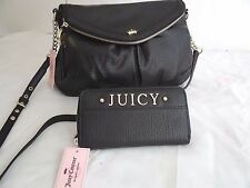 NWT Juicy Couture Black Traveler Crossbody Shoulder Bag With Matching Wallet