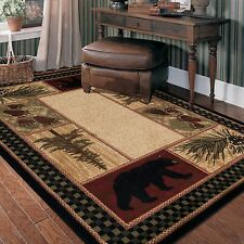 5X8 Bear Paw Pinecone Pine Tree Black Red Green Beige Lodge Cabin Area Rug