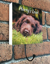 Personalised Handmade Wooden Photo Dog Lead Holder Pet Puppy Lead Hook Gift