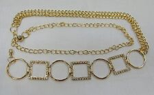 Gold Chain Metal Belt Rhinestone Crystal ONE SIZE Womens Bling Hip BELT Vintage