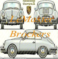 PORSCHE 356 C  Carrera 2  1963 - Poster voiture sport auto sport  vintage