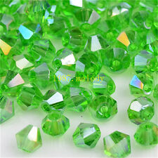 100pcs green ab exquisite Glass Crystal 4mm #5301 Bicone Beads loose beads!