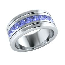 Mens Wedding Band 1.10 ct Round Blue Tanzanite 925 Sterling Silver Ring Sizable