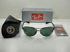RAY-BAN AVIATOR SUNGLASSES RB3386 004/71 GUNMETAL & BLACK/GREEN LENS 63MM