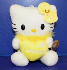 "Hello Kitty Plush with Heart ""I Love You"" 6.5 Inches Yellow"