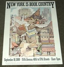 "ORIG. MAURICE SENDAK ""WILD THINGS"" POSTER for 1988 ""NEW YORK IS BOOK COUNTRY"