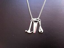 """MENS WORK TOOL CHARM NECKLACE HAMMER SAW WRENCH 18"""" SILVER CHAIN IN GIFT BAG"""